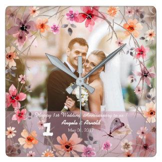 1st Wedding Anniversary Decorative Flowers Clock