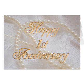 1st wedding anniversary with lace and pearls card