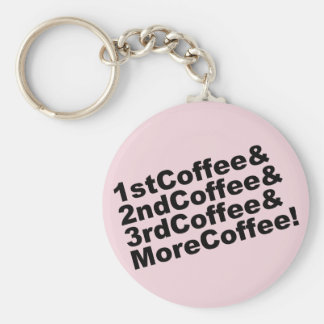 1stCoffee&2ndCoffee&3rdCoffee&MoreCoffee! (blk) Keychain