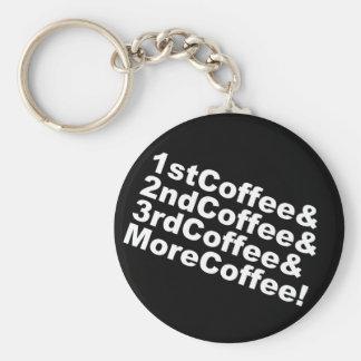 1stCoffee&2ndCoffee&3rdCoffee&MoreCoffee! (wht) Keychain