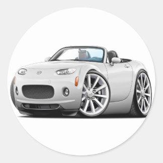 2006-08 Miata White Car Round Sticker