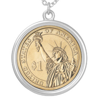 2007 Presidential One Dollar Coin from U.S. Mint Silver Plated Necklace