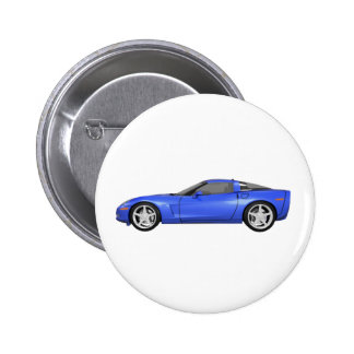 2008 Corvette: Sports Car: Blue Finish: 2 Inch Round Button