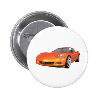 2008 Corvette: Sports Car: Orange Finish: 2 Inch Round Button