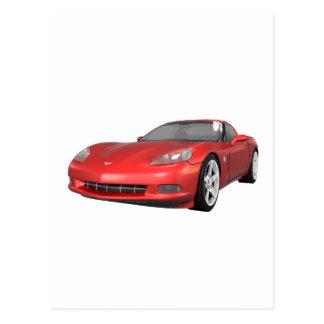 2008 Corvette: Sports Car: Red Finish: Postcard