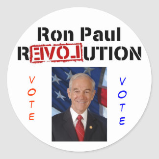 2008, RonPaulRevolution, vote, vote Classic Round Sticker