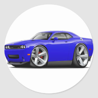 2009-11 Challenger RT Blue Car Classic Round Sticker