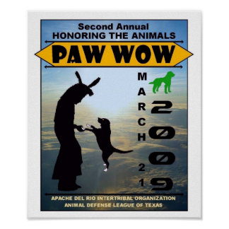 "2009 ""Honoring The Animals"" Paw Wow Poster"