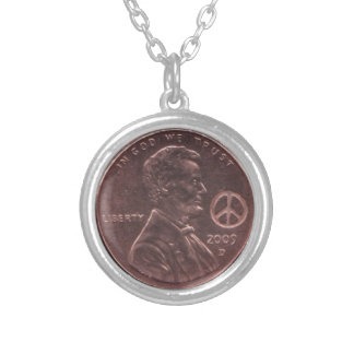 2009 PEACE Lincoln Cent Penny HIPPIE Birth Year Silver Plated Necklace