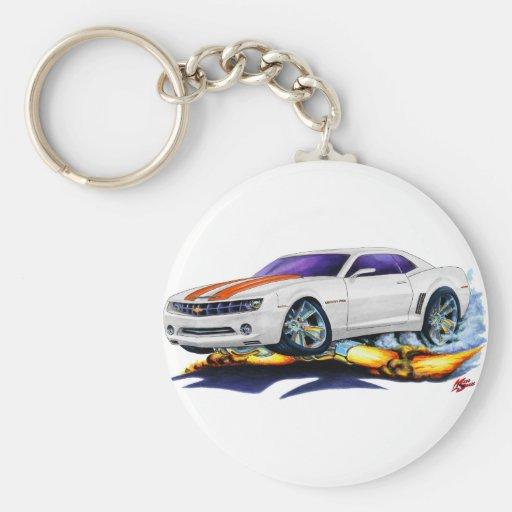 2010 Camaro White-Orange Car Basic Round Button Keychain