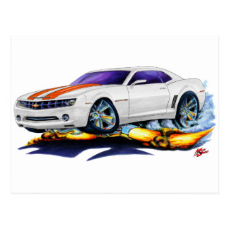 2010 Camaro White-Orange Car Postcard