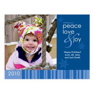 2010 Peace, Love and Joy Holiday Photo Card - Blue Postcard