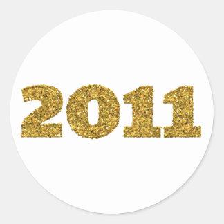2011 Gold Glitter Classic Round Sticker