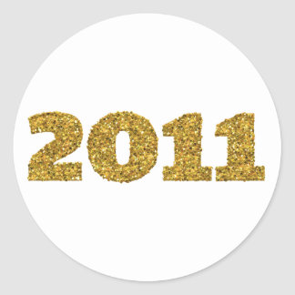 2011 Gold Glitter Round Sticker