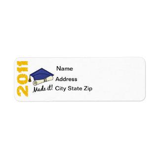 2011 Graduation Cap Return Address Label