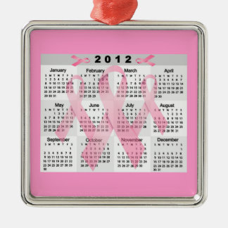 2012 CALENDAR PINK RIBBONS BREAST CANCER AWARENESS Silver-Colored SQUARE ORNAMENT