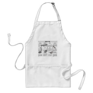 2012 Calendar with Musical Notes print Standard Apron
