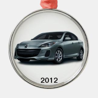 2012 Mazda3 4-door Christmas tree ornament. Silver-Colored Round Ornament