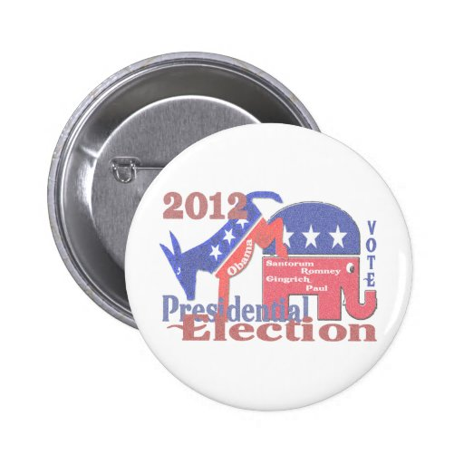 2012 Presidential Election Pinback Buttons