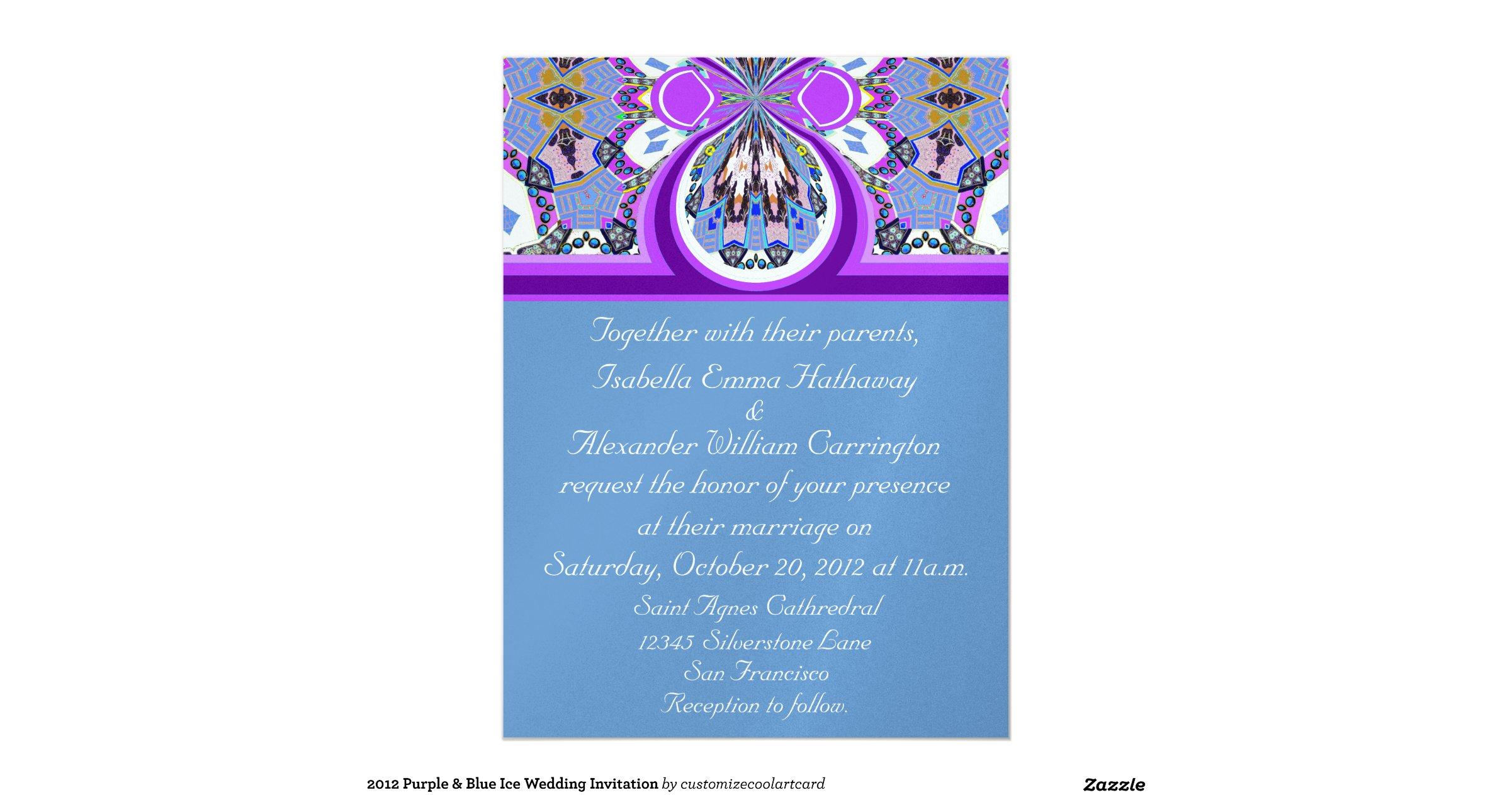 Purple And Blue Wedding Invitations: 2012 Purple & Blue Ice Wedding Invitation