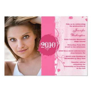 2012 Trendy grunge pink graduation party invite