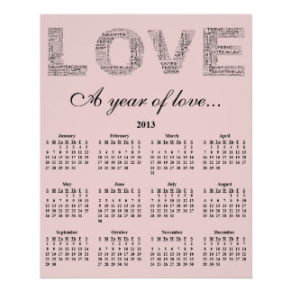 2013 A Year of Love Wall Calendar Posters
