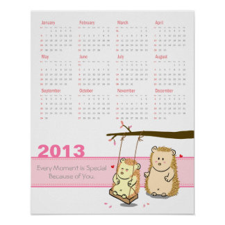 2013 Calendar: Cute Hedgehog couple at tree swing Poster