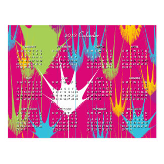 2013 Calendar with Colorful Palm Shape Texture | Post Card