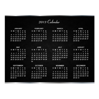 2013 Calendar with Elegant Black Leather Texture | Postcard