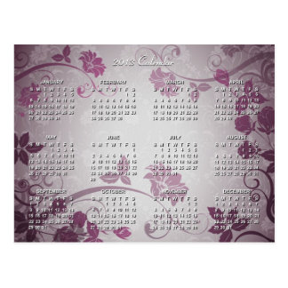 2013 Calendar with Orchid Color Floral Texture | Postcard