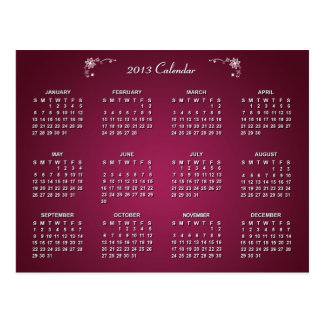 2013 Calendar with Ruby Color Texture | Postcard