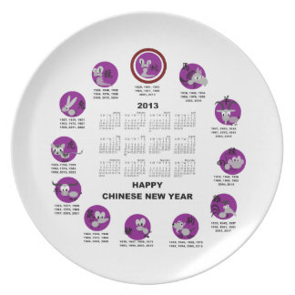 2013 Chinese Zodiac Happy New Year Calendar Party Plate