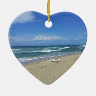 2013 DOMINICAN REPUBLIC HIDEAWAY BEACH PHOTOGRAPHY CERAMIC HEART ORNAMENT