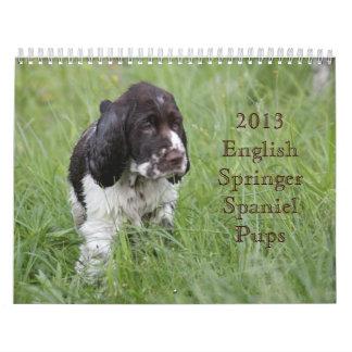 2013 English Springer Spaniel Pups Wall Calendar