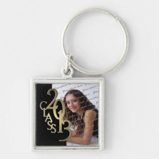 2013 Graduation Keepsake Black Gold Silver-Colored Square Keychain