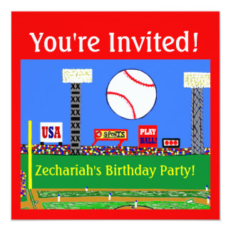 2013 Kids Baseball Birthday Party Invitations