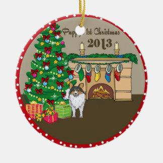 2013 Sheltie Puppys First Christmas Ceramic Ornament