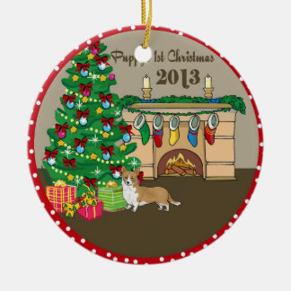 2013 Welsh Corgi Puppys First Christmas Ceramic Ornament