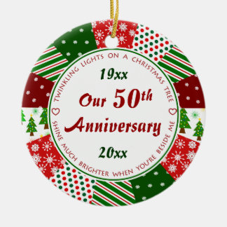 2014 50th or Any Year Anniversary Gift Double-Sided Ceramic Round Christmas Ornament