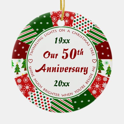 2014 50th or Any Year Anniversary Gift Christmas Tree Ornament