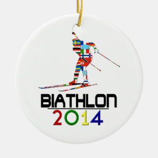 2014: Biathlon Round Ceramic Ornament