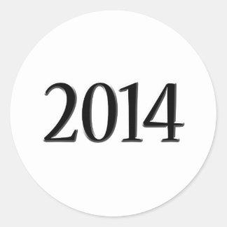2014 Black 3D Graduation Round Sticker