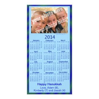 2014 Calendar Card Template Blue Hanukkah Photo Personalized Photo Card