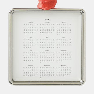 2014 Calendar Gifts Metal Ornament