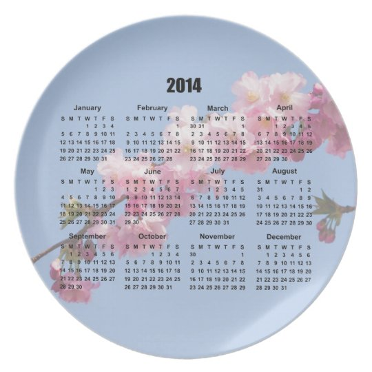 2014 calendar pink blossom flowers blue sky, gift plate