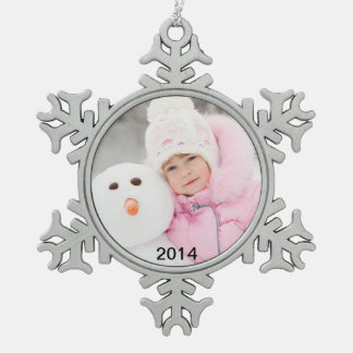 2014 Charming Photo Year Pewter Holiday Ornament