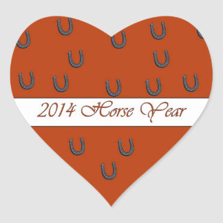 2014 Horse Year Red Horse Shoes Heart Sticker