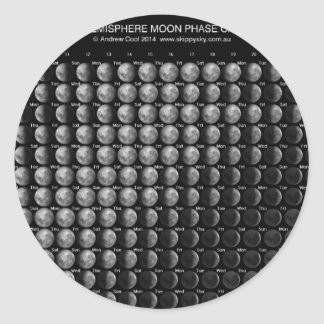 2014 Moon Phase Calendar Northern Hemisphere.png Round Sticker