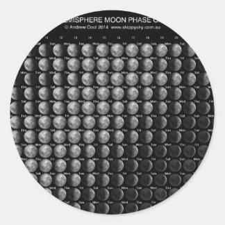 2014 Moon Phase Calendar Northern Hemisphere.png Round Sticker