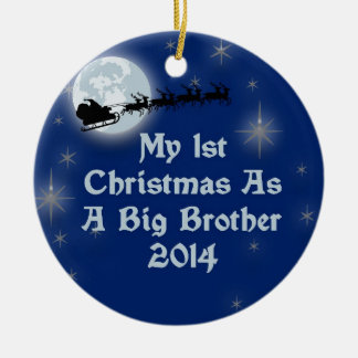 2014 My 1st Christmas As A Big Brother Round Ceramic Ornament